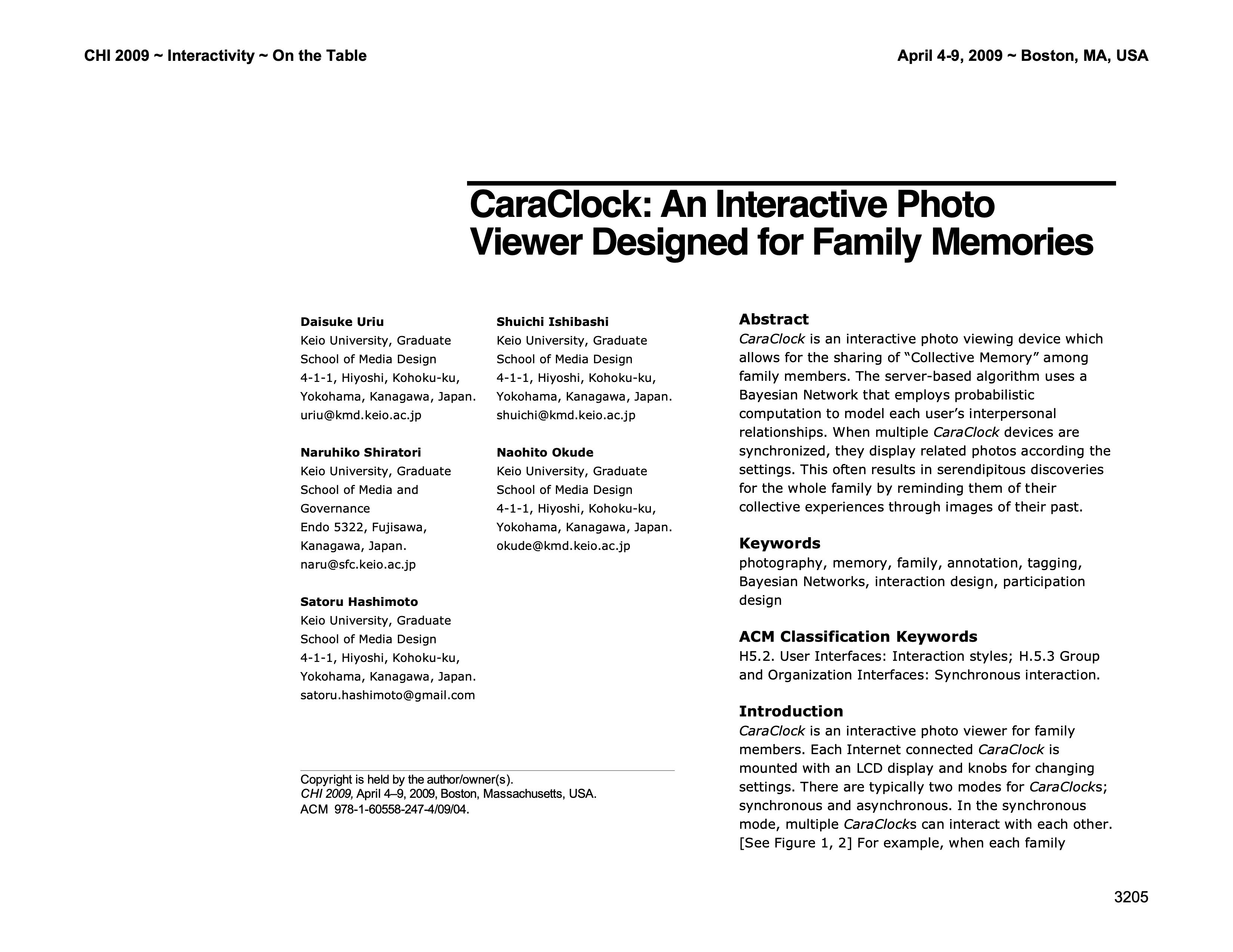 CaraClock CHI2009